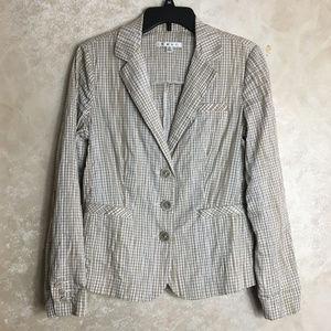 CAbi Size Medium Jacket Blazer Brown Checks